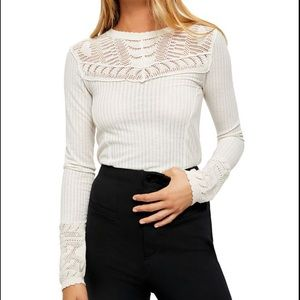 FREE PEOPLE Colette Pointelle Detail Sweater Sand